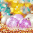 Greeting card with Christmas balls in gold design — Stok fotoğraf