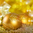 Greeting card with Christmas ball in gold design — Stock fotografie
