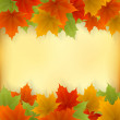 Abstract golden autumn frame from maple leaves — Stock Vector