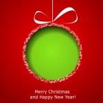 abstrakt grön jul boll kapade från papper på röd bak — Stockvektor