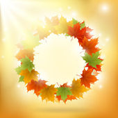 Abstract gold autumn background with maple leaf ring — Stok Vektör
