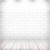White brick wall with wooden floor and spotlights in a vintage i — Vettoriale Stock