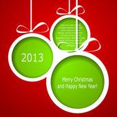 Abstracte groene kerstballen gesneden uit paper over rode chtergro — Stockvector