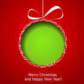 абстрактный зеленый рождественский бал, вырезанные из бумаги на красной backgroun — Cтоковый вектор