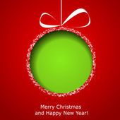 Abstract green Christmas ball cutted from paper on red backgroun — Stockvector
