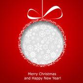 Bola de navidad abstracto cortado de papel sobre fondo rojo — Vector de stock