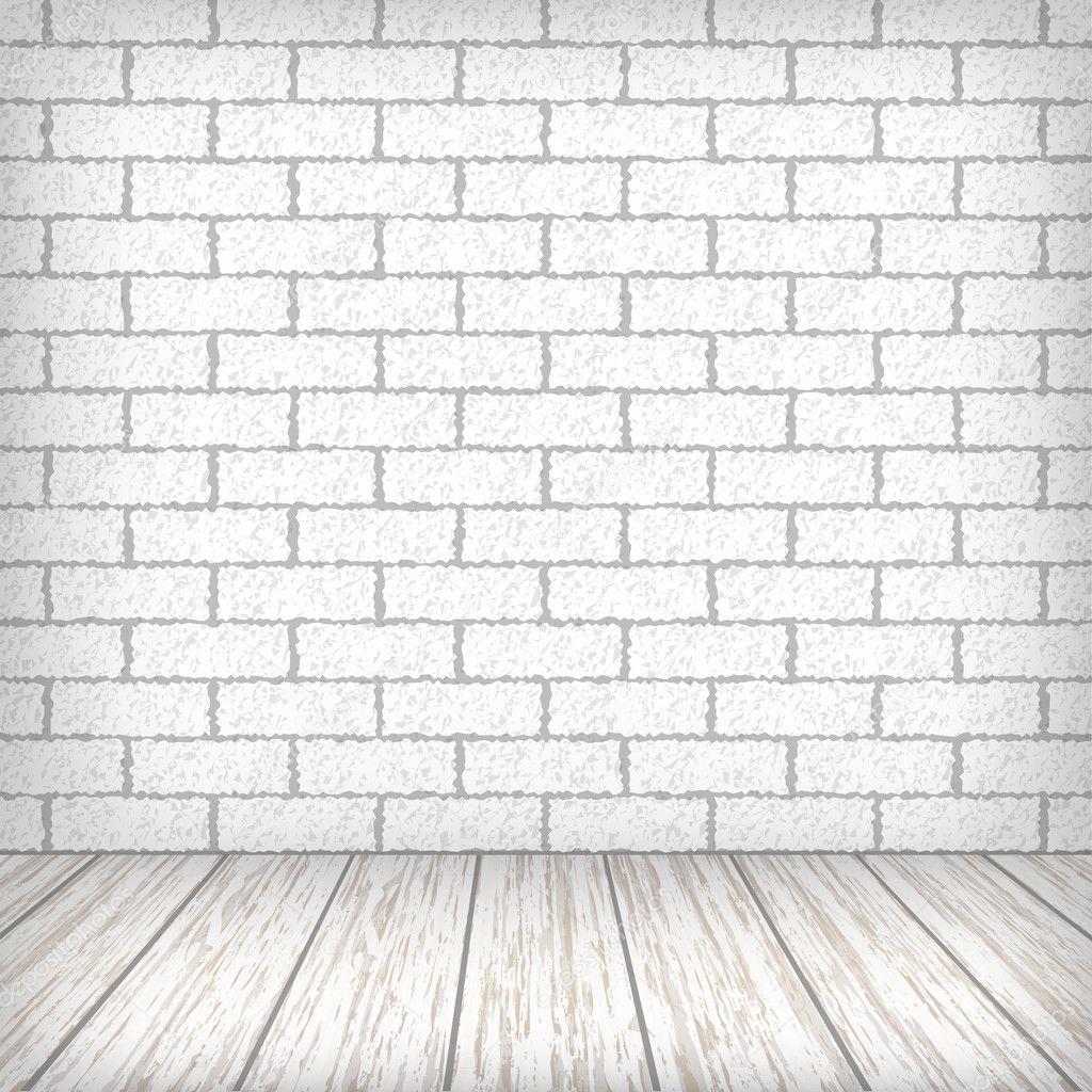 Pared de ladrillo blanco con piso de madera en un interior - Pared ladrillo blanco ...