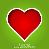 Abstracte rood hart gesneden uit groenboek achtergrond. valentine — Stockvector