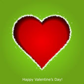 Abstract red heart on green paper background. Valentines day gre — Cтоковый вектор