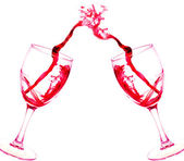 Two glasses of red wine abstract splash isolated on white backgr — Stock Photo