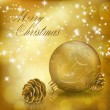 Golden Xmas greeting card with gold Christmas ball and cones — Stock Vector