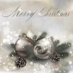 Merry christmas gratulationskort med julen bollar — Stockvektor