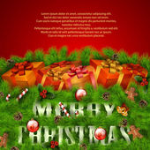 Merry Christmas greeting card with gift boxes and Xmas decoratio — 图库矢量图片