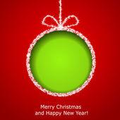 аннотация рождество открытка с резаным зеленым елочный шар fro — Cтоковый вектор