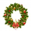 Christmas wreath on white background. Xmas decorations — Stock Vector