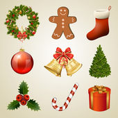 ícones e elementos de design de natal. conjunto de decorações de natal — Vetor de Stock