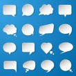 Modern paper speech bubbles set on blue background for web, bann — Stock Vector