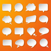 Modern paper speech bubbles set on orange background for web, ba — Stock Vector