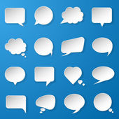 Modern paper speech bubbles set on blue background for web, bann — Stock Vector