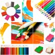 Colorful bright paints and pencils — Stock Photo