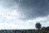 Raindrops on glass and autumn landscape — Stock Photo