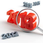 New 2013 year under magnification and other years — Stock Photo