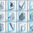 Metallic symbols in blue frames on a white background — Stock Photo