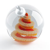 Glass sphere with a decorative Christmas tree inside — Stock Photo