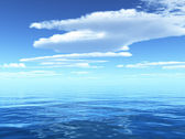Cloudy blue sky leaving for horizon above a blue surface of the sea — Stok fotoğraf