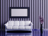 Interior with sofa and plant in a vase on a background of striped wall — Stock Photo