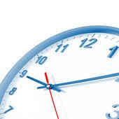 Orologio analogico con le frecce su uno sfondo bianco e bordo blu — Foto Stock