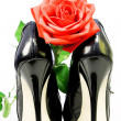 Lady shoes and red rose on a white background — Stock Photo #25857217