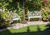 White Garden benches — Stock Photo