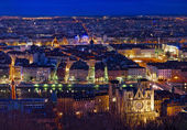 Lyon. City of Lyon by night. The city came alive with light. France. — Stock Photo