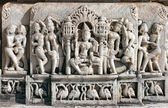 Oude zon tempel in ranakpur. jain tempel snijwerk. — Stockfoto