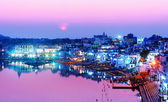 Pushkar lake at night — Stock Photo