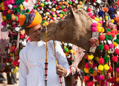 Traditional camel decoration competition at camel mela in Pushka — Stock Photo