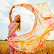 The young woman in the field holding scarf to wind. — Stock Photo #21636799