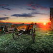 Stock Photo: Sunrise on farm.