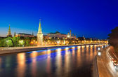 View of the Moscow Kremlin and Moskva river at night. — Stock Photo