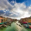 Venice - gondolas and boats on the Grand Canal. — Stock Photo
