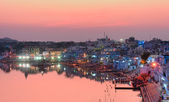 Pushkar Holy Lake at sunset. India — Stock Photo