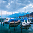 Yachts and boats on Lake Thun, Switzerland — Stock Photo