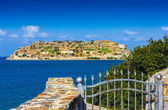 Spinalonga island at blue water of Crete, Greece — Stock Photo