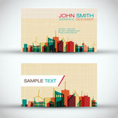 City Panorama Business Card Set | EPS10 Vector Design — Stok Vektör