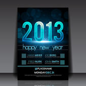 Happy New Year 2013 Blue Vector Flyer Template — Stock Vector