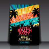 Retro Summer Beach Party Flyer - Vector Design — Stock Vector