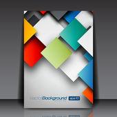 Kolorowe kwadraty 3d - biznes ulotka szablon wektor wzór — Wektor stockowy