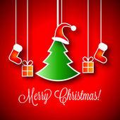векторные иллюстрации с рождеством   зеленые елки   мало подарочные коробки   красный санта клаус red hat   красный чулок — Cтоковый вектор