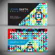 Colorful Mosaic Modern Business Card Set — Stock Vector